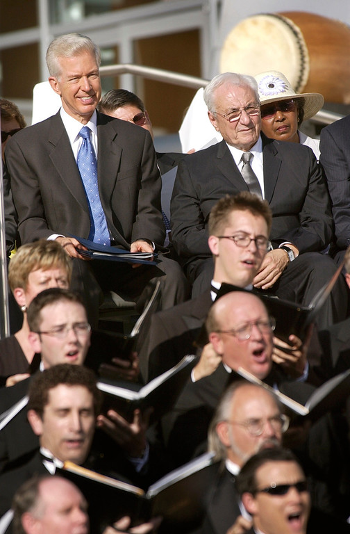 . Architect Frank Gehry, right, is joined by recalled California Gov. Gray Davis, in front of the new Walt Disney Concert Hall in downtown Los Angeles, Monday, Oct. 20, 2003, during a dedication ceremony for the new home of the Los Angeles Philharmonic and Los Angeles Master Chorale. (AP Photo/Nick Ut)