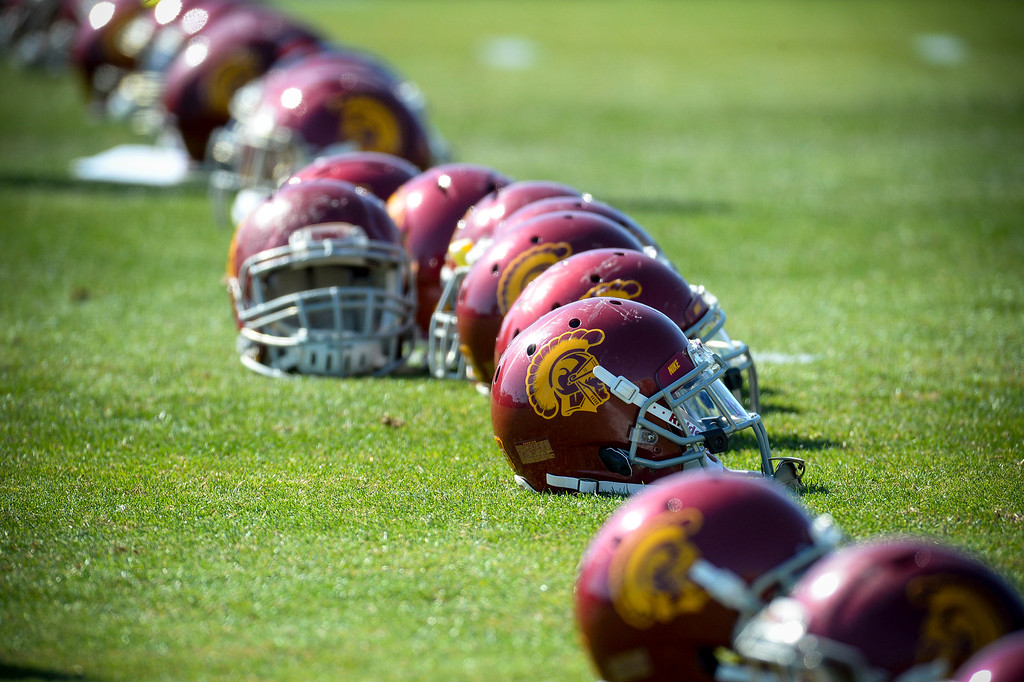 . USC helmets lined up during spring practice at USC Tuesday, April 15, 2014.  (Photo by David Crane/Los Angeles Daily News.)