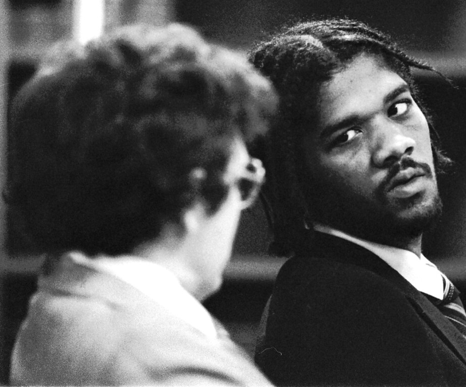 . Kevin Cooper talks with his attorney Public Defender David Negus during his preliminary hearing in November 1983 in Ontario.  (Staff photo/Inland Valley Daily Bulletin)