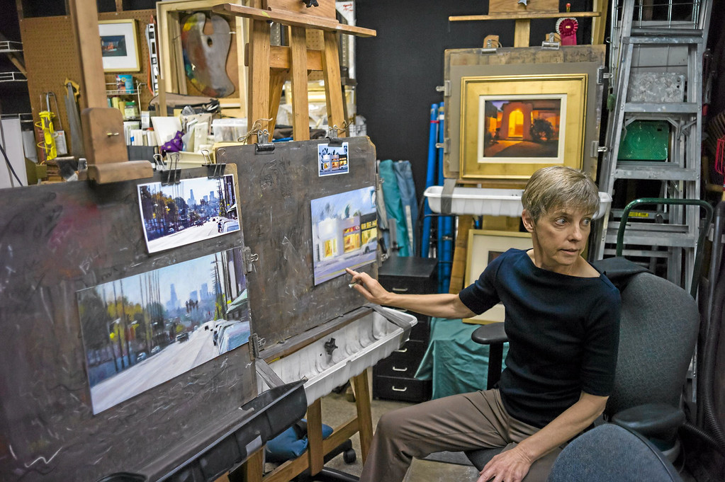 . Los Angeles pastel artist Nancy Popenoe gets her inspiration from the streets and night scenes around her Los Angeles neighborhood.  Photo by David Crane/Los Angeles Daily News