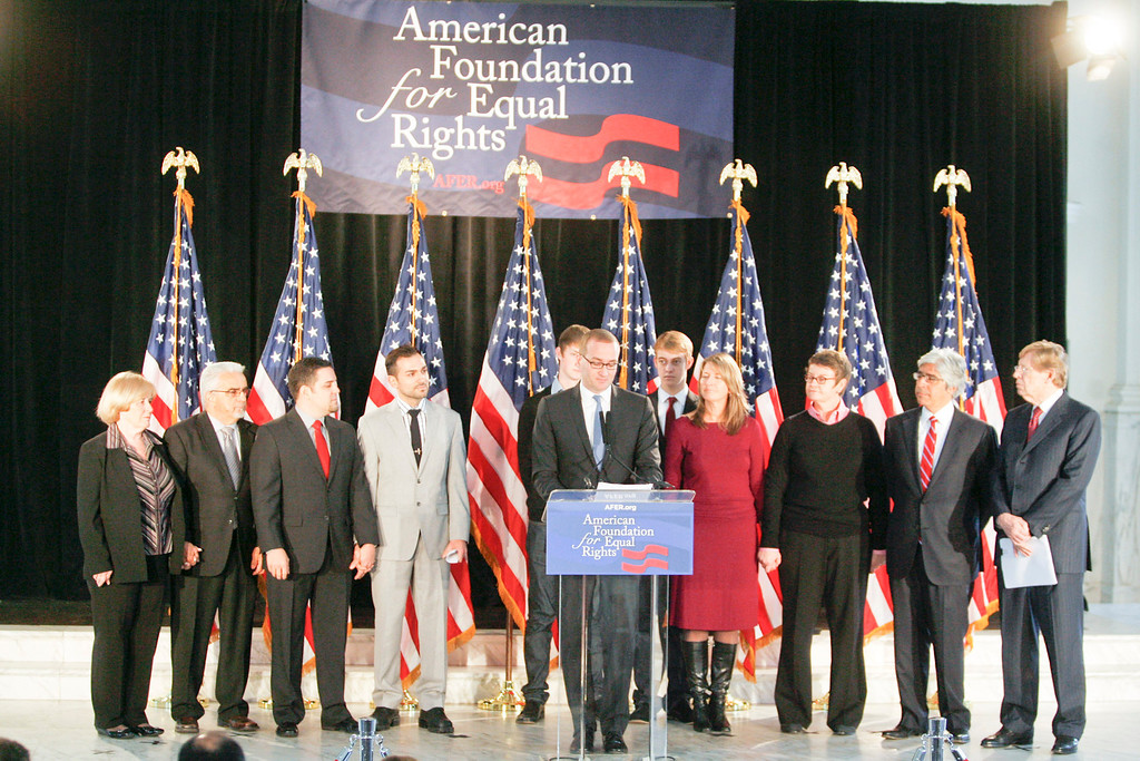 . AFER Press conference about the appeals court ruling that Prop 8 is unconstitutional in Los Angeles Tuesday Morning.   Photo by David Crane/Los Angeles Daily News.