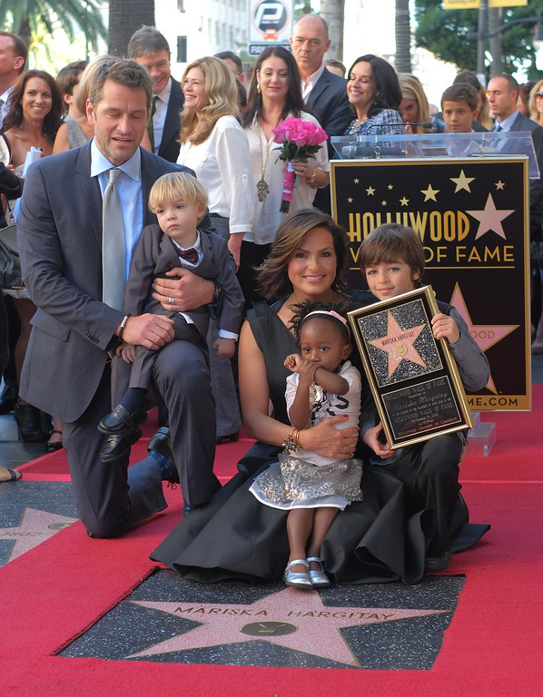 . Actresses Mariska Hargitay poses with her husband, Peter Hermann and her children as she attends a ceremony where Hargitay was honored with a star on the Hollywood Walk of Fame on November 08, 2013 in Hollywood, California.        (JOE KLAMAR/AFP/Getty Images)