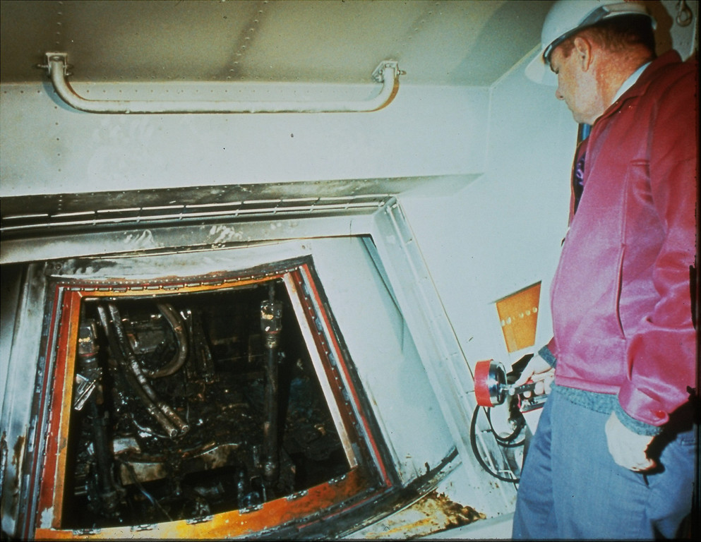 . The charred interior of the Apollo I spacecraft shown after the flash fire that killed astronauts Ed White, Roger Chaffee, and Virgil Grissom, January 27, 1967.  (AP photo)