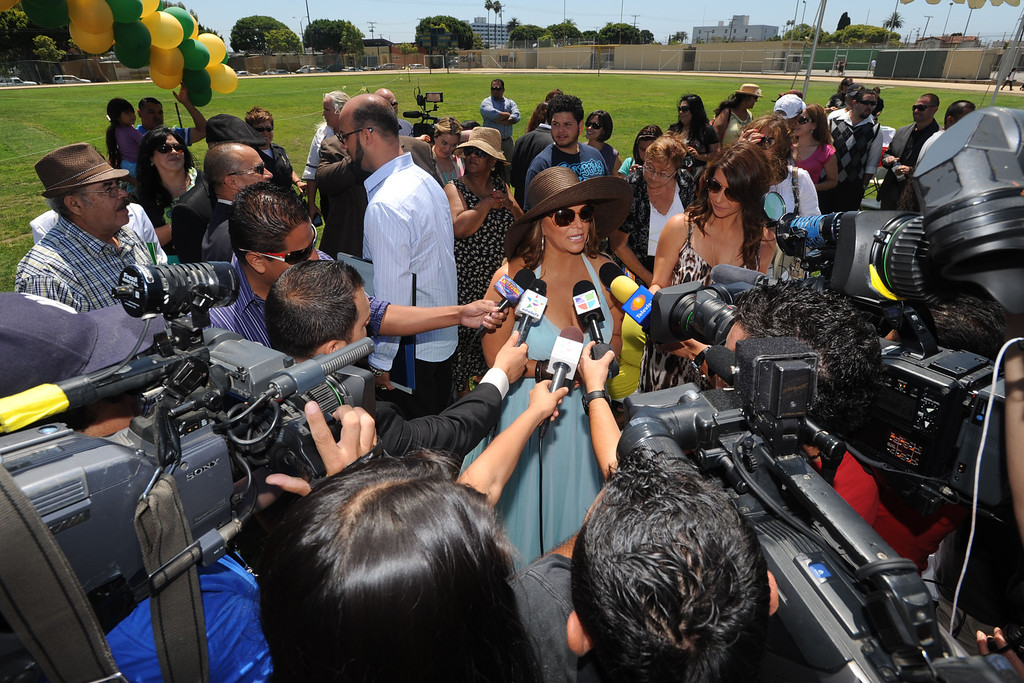 . Long Beach Poly alum Jenni Rivera was honored Tuesday with a star on the Poly Walk of Fame. Rivera is internationally famous in the Latin music scene and also stars in her own reality television show.  Rivera was a draw with Hispanic media at the event..July 26, 2011..Photo by Steve McCrank / Daily Breeze