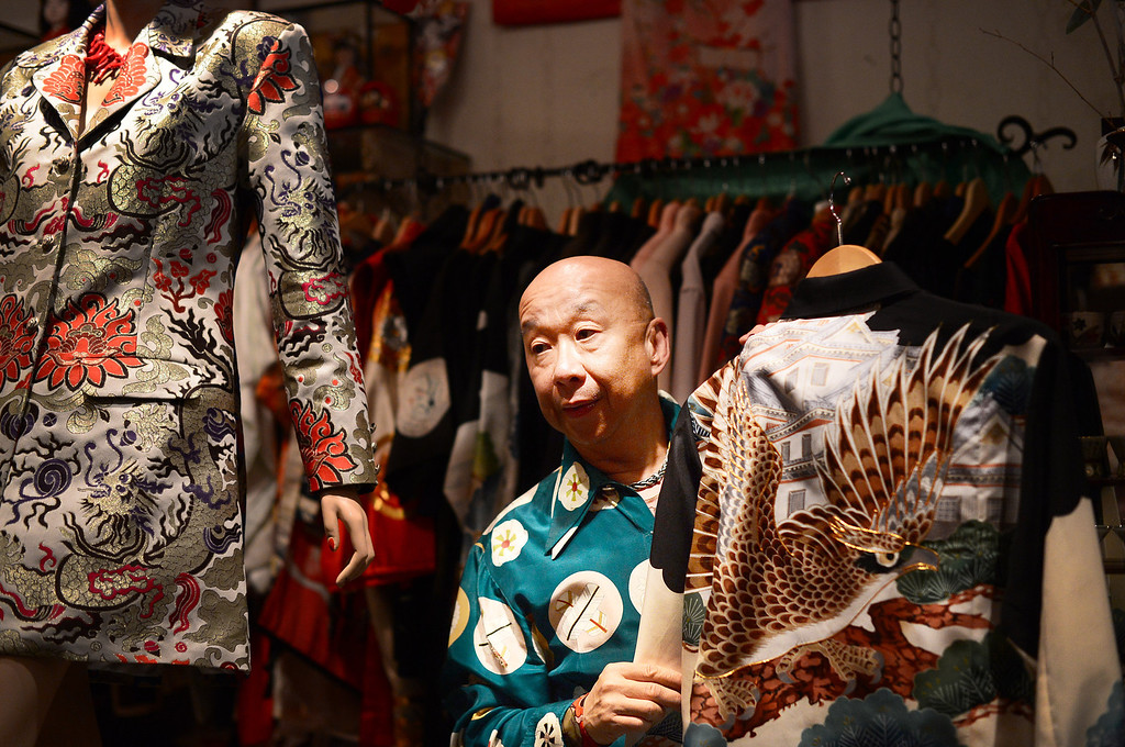 . Designer Peter Lai, seen Thursday, June 20, 2013, is retiring and closing his boutique after 20 years in San Marino. In retirement Lai plans to continue to perform Kabuki and open a Japanese village in downtown Los Angeles. (SGVN/Staff Photo by Sarah Reingewirtz)