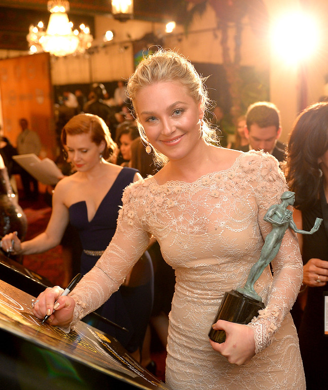. Elisabeth Rohm backstage at the 20th Annual Screen Actors Guild Awards  at the Shrine Auditorium in Los Angeles, California on Saturday January 18, 2014 (Photo by Michael Owen Baker / Los Angeles Daily News)