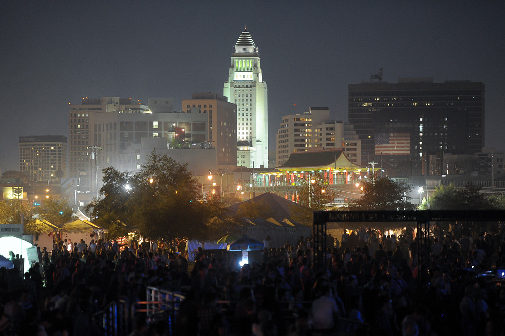 . City Hall stands as a backdrop to FYF Fest in downtown L.A., Saturday, August 24, 2013. (Michael Owen Baker/L.A. Daily News)