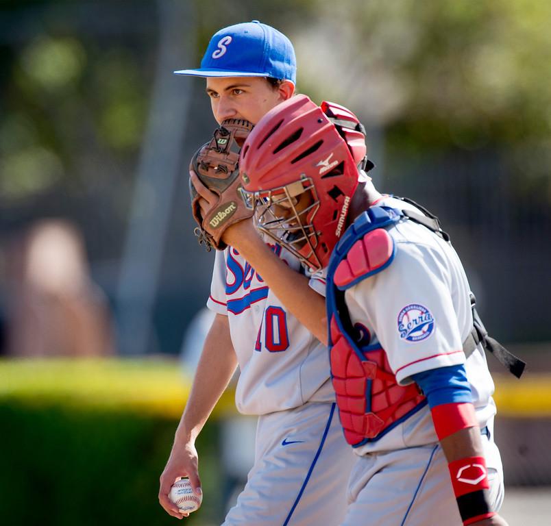 . Serra High\'s starting pitcher Tommy Bothwell vs Bishop Amat at Amat\'s La Puente, Calif. campus field April 16, 2014.  (Staff photo by Leo Jarzomb/San Gabriel Valley Tribune)