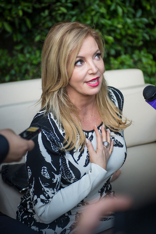 . Jeanie Buss answers talks to the media about the Lakers at a Time Warner event to honor the late Jerry Buss in Los Angeles.  Photo by David Crane/Los Angeles Daily News