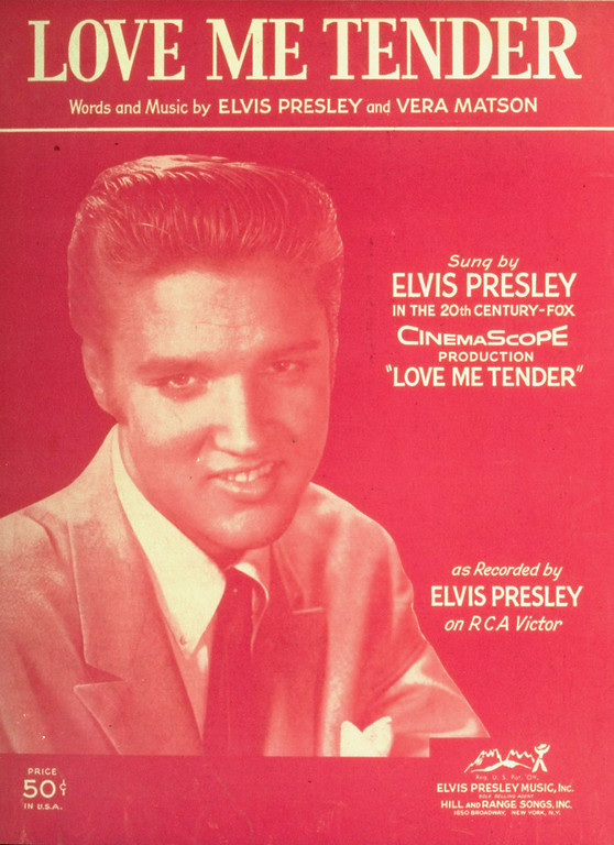 ". This is the sheet music cover for Elvis Presley\'s fifth Billboard pop number 1 hit, ""Love Me Tender\"",  from September 20, 1956.  Elvis\' first movie of that title, was adapted from the Civil War song  \""Aura Lee\"" of 1861. (AP Photo)"