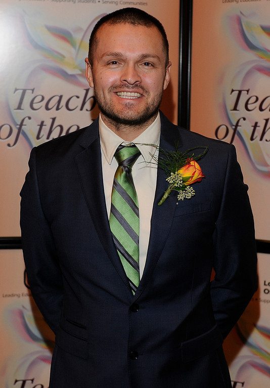 . Jesus Gutierrez, Jr. from Baldwin Park USD. Sixteen teachers from throughout the Los Angeles County were named as Teachers of the Year during a ceremony at the Universal Hilton. Teachers received a cash award from the California Credit Union as well as software and hardware to use in their classrooms from eInstruction. Universal City, CA. 9/27/2013. photo by (John McCoy/Los Angeles Daily News)