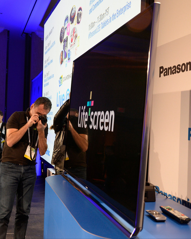 . Jan 6,2014.  Las Vegas NV. USA.  Panasonic press conference shows the new 65 inch Life Screen TV, at the 2014 CES media day show Monday. The 2014 CES show starts this Tuesday and runs till Friday with a estimated crowd of 150,000 to attend the show.. Photo by Gene Blevins/LA Dailynews