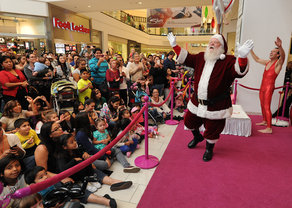 . Santa Clause is welcomed to the Glendale Galleria. The mall has completed a major renovation and is celebrating this weekend with a grand re-opening. Glendale, CA. 11/8/2013. photo by (John McCoy/Los Angeles Daily News)