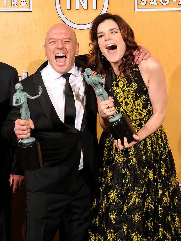 . Dean Norris and Betsy Brandt backstage at the 20th Annual Screen Actors Guild Awards  at the Shrine Auditorium in Los Angeles, California on Saturday January 18, 2014 (Photo by John McCoy / Los Angeles Daily News)