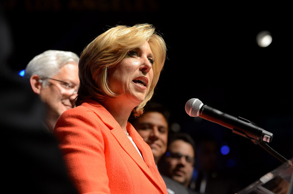 . Wendy Greuel takes the stage during her election night party at the Exchange in Los Angeles, CA May 21, 2013.(Andy Holzman/Staff Photographer)