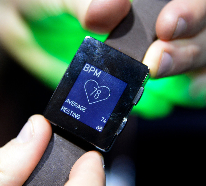 . Wellograph displays its new heart beat fashion watch during the 2014 Consumer Electronics Show (CES) on Sunday, June 5, 2014 in Las Vegas, Nevada. The 2014 CES show starts Tuesday, Jan. 7, 2014 and runs until Friday, Jan. 10, 2014 with 150,000 people estimated to attend the show. (Photo by Gene Blevins/Los Angeles Daily News)