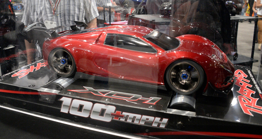. Nov 5,2013 Las Vegas NV. USA. The famous Traxxas remote cars show their new 100+MPH car on display during the first day of the 2013 SEMA auto show.