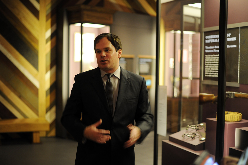 . Jeffrey Richardson, Gamble Curator of Western History, Popular Culture, and Firearms at the Autry National Center in Los Angeles. Western Frontiers: Stories of Fact and Fiction inaugurates the Autry�s new Gamble Firearms Gallery and celebrates the gift of the George Gamble Collection, an incomparable selection of Western firearms and related materials. The exhibition explores the many roles guns have played in the history of the West, from the opening of the frontier in the late eighteenth century through television Westerns in the middle of the twentieth century. (Hans Gutknecht/Los Angeles Daily News)