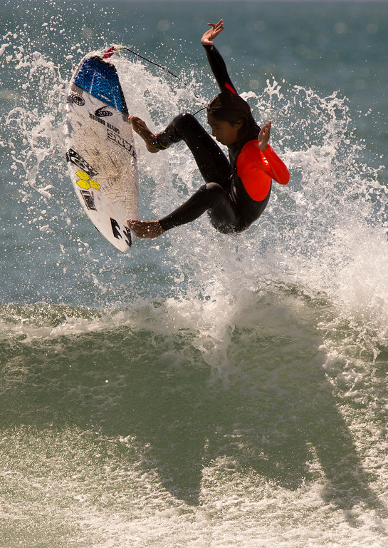 . A surfer has fun in the big waves at Surfer\'s Point in Ventura, Tuesday, August 26, 2014. (Photo by Michael Owen Baker/Los Angeles Daily News)