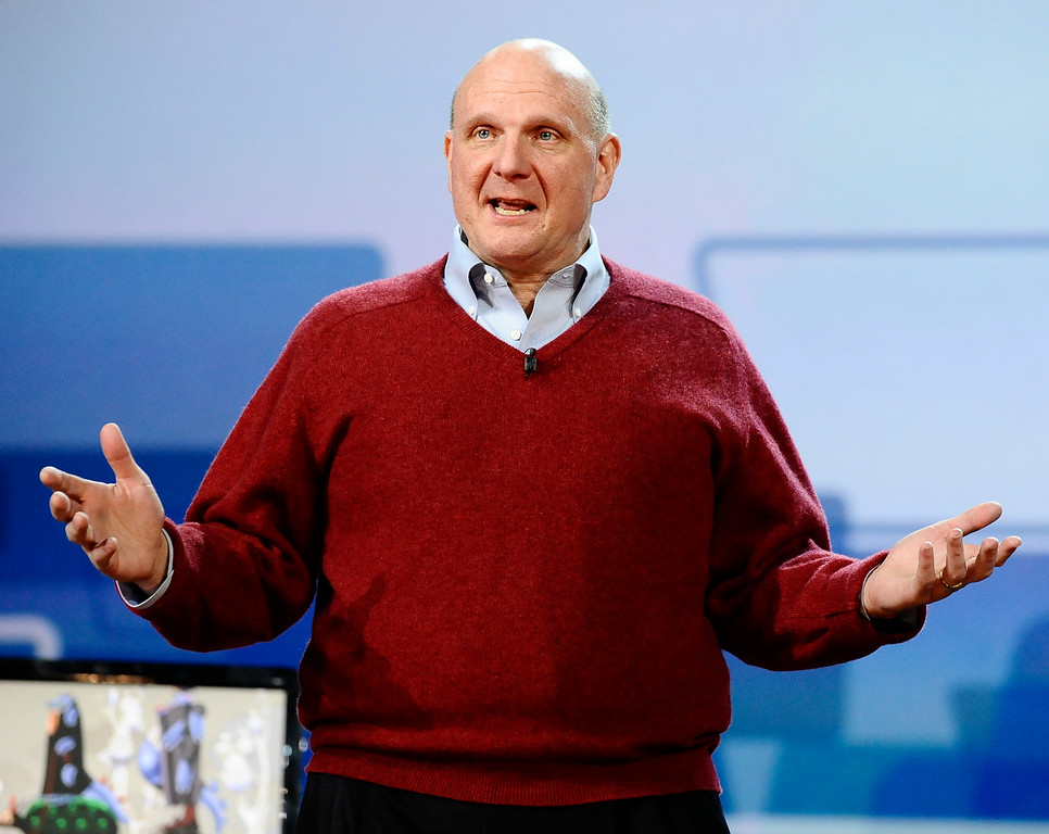 . Keynote speaker Steve Ballmer Microsoft CEO talks at the Beverly Hilton Hotel at the start of the 2010 CES show in Las Vegas NV. Jan 6,2010. Photo by Gene Blevins/LA Daily News