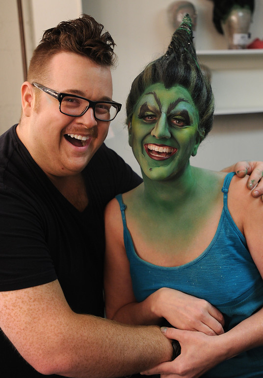 . Jacquelyn Piro Donovan is transformed into the Wicked Witch by makeup artist Michael King. The Wizard of Oz is being staged at the Pantages Theatre in Hollywood, CA. 9/25/2013. photo by (John McCoy/Los Angeles Daily News)