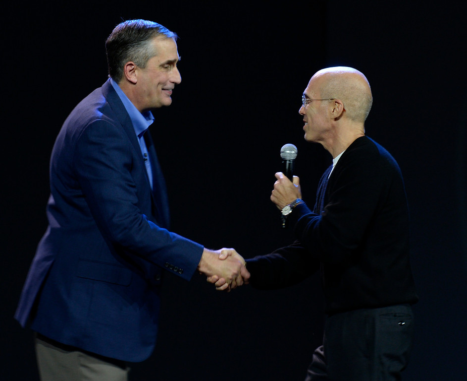 . Jan 6,2014.  Las Vegas NV. USA.  Intel CEO Brian Krzanich(L) with Dream Works Jeffrey Katzenberg, during the Intel keynote show at the 2014 CES media day show Monday. The 2014 CES show starts this Tuesday and runs till Friday with a estimated crowd of 150,000 to attend the show.. Photo by Gene Blevins/LA Dailynews