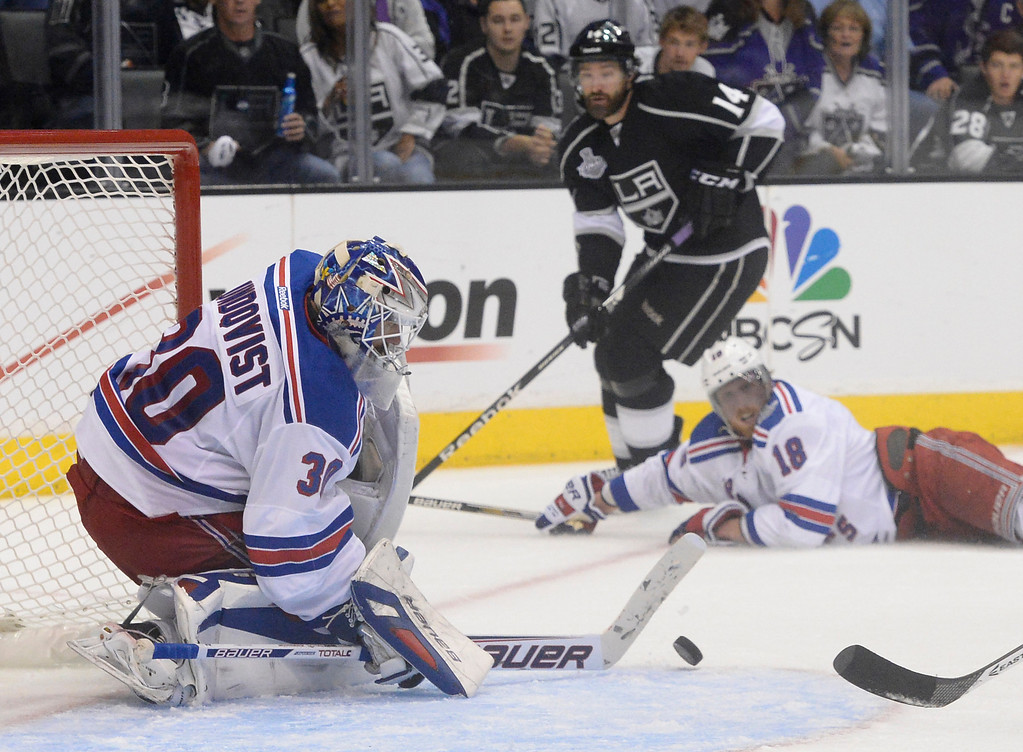 . Rangers goalie Henrik Lundqvist stops a shot late in the 3rd period. The Los Angeles Kings faced the New York Rangers in game 1 of the Stanley Cup Finals. Los Angeles, CA. 6/4/2014(Photo by John McCoy / Los Angeles Daily News)