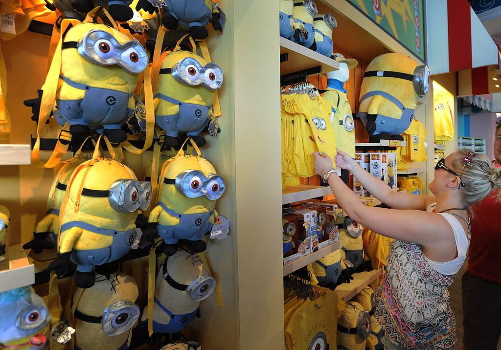 . After getting off the Despicable Me ride, people exit through the girt shop. Universal Studios Hollywood will soon open the Despicable Me Minion Mayhem and Super Silly Fun Land. Universal City,CA. March 20, 2014 (Photo by John McCoy / Los Angeles Daily News)