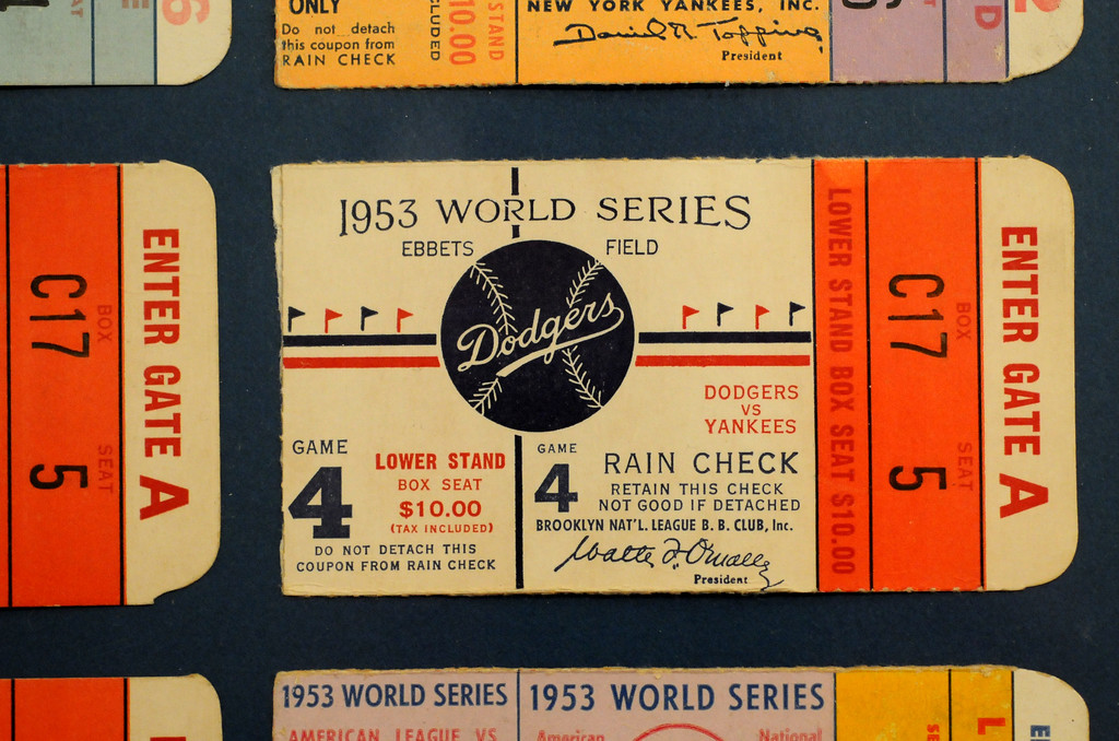 """. A World Series ticket from the 1953 Dodgers vs Yankees series is included in the \""""Baseball!\"""" exhibit.  The Exhibition opens April 4, 2014 at the Ronald Reagan Presidential Library and Museum.  Running through September 4, 2014, Baseball is a 12,000 square foot exhibition featuring over 700 artifacts, including some of the rarest, historic and iconic baseball memorabilia.  (Photo by Dean Musgrove/Staff Photographer)"""