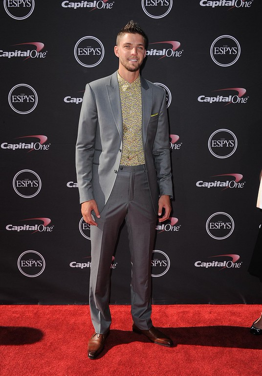 . Houston Rockets\' Chandler Parsons arrives at the ESPY Awards on Wednesday, July 17, 2013, at Nokia Theater in Los Angeles. (Photo by Jordan Strauss/Invision/AP)