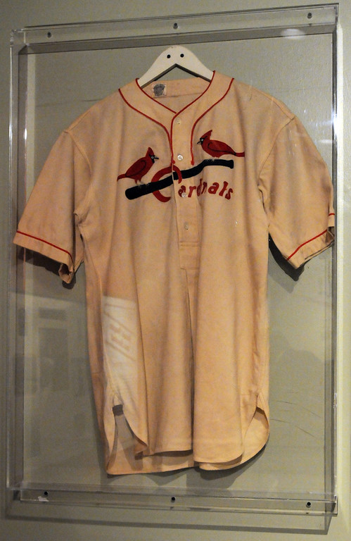 """. A 1952 costume jersey that Ronald Reagan wore in the film \""""The Winning Team\"""" is included in the \""""Baseball!\"""" exhibit. The Exhibition opens April 4, 2014 at the Ronald Reagan Presidential Library and Museum.  Running through September 4, 2014, Baseball is a 12,000 square foot exhibition featuring over 700 artifacts, including some of the rarest, historic and iconic baseball memorabilia.  (Photo by Dean Musgrove/Staff Photographer)"""