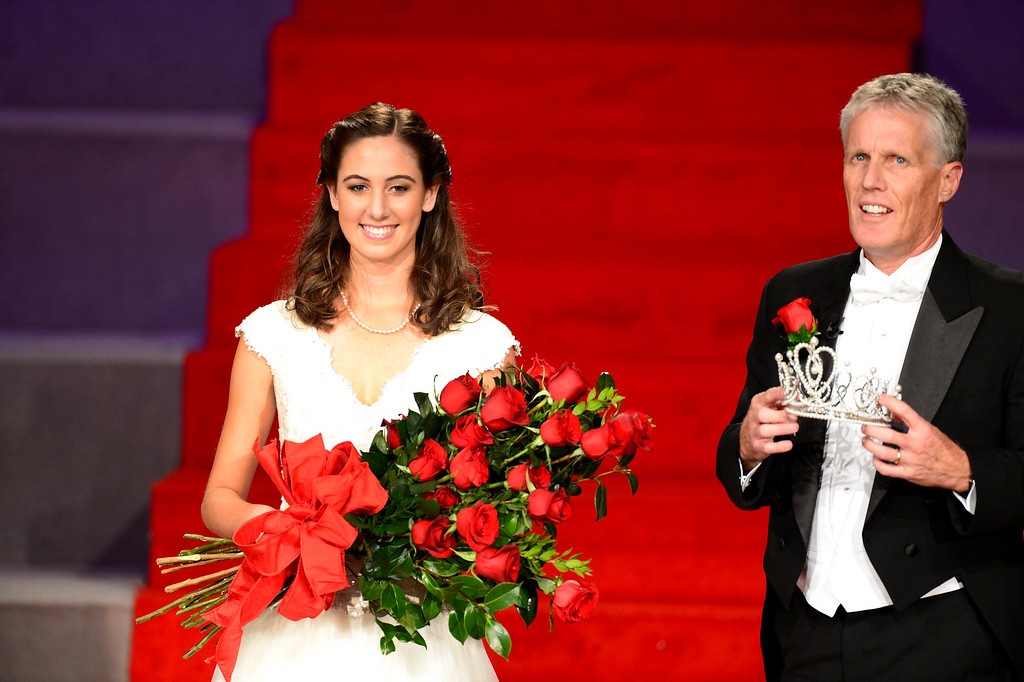 . Tournament of Roses President Scott Jenkins crowns the 96th Rose Queen, Ana Acosta during the Tournament of Roses\' coronation ceremony Thursday night, October 24, 2013 at the First Church of the Nazarene of Pasadena. (Photo by Sarah Reingewirtz/Pasadena Star-News)