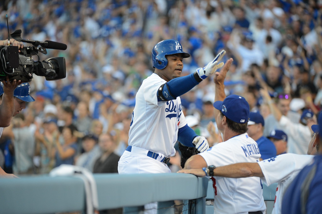 . Dodgers Carl Crawford hits a 3-run homerun in the second inning during game 3 of the NLDS at Dodger Stadium Sunday, October 6, 2013. (Photo by David Crane/Los Angeles Daily News)