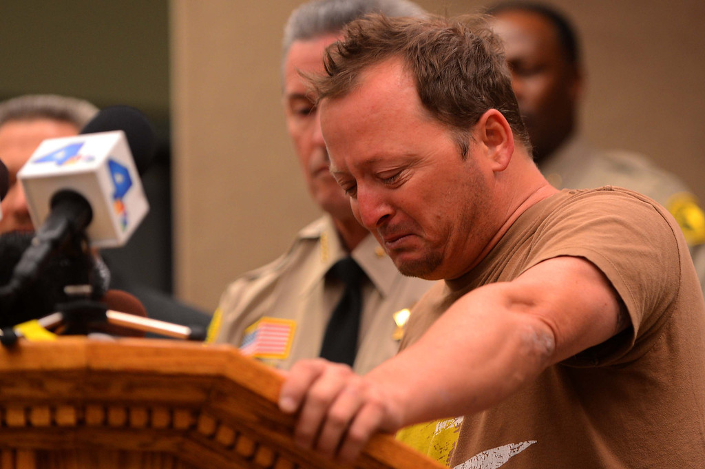 . Michael McStay, brother of Joseph McStay, speaks Friday about his family, whose remains were found on the outskirts of Victorville on Monday at a  news conference at the San Bernardino County Sheriff\'s Department. (LaFonzo Carter/The Sun)