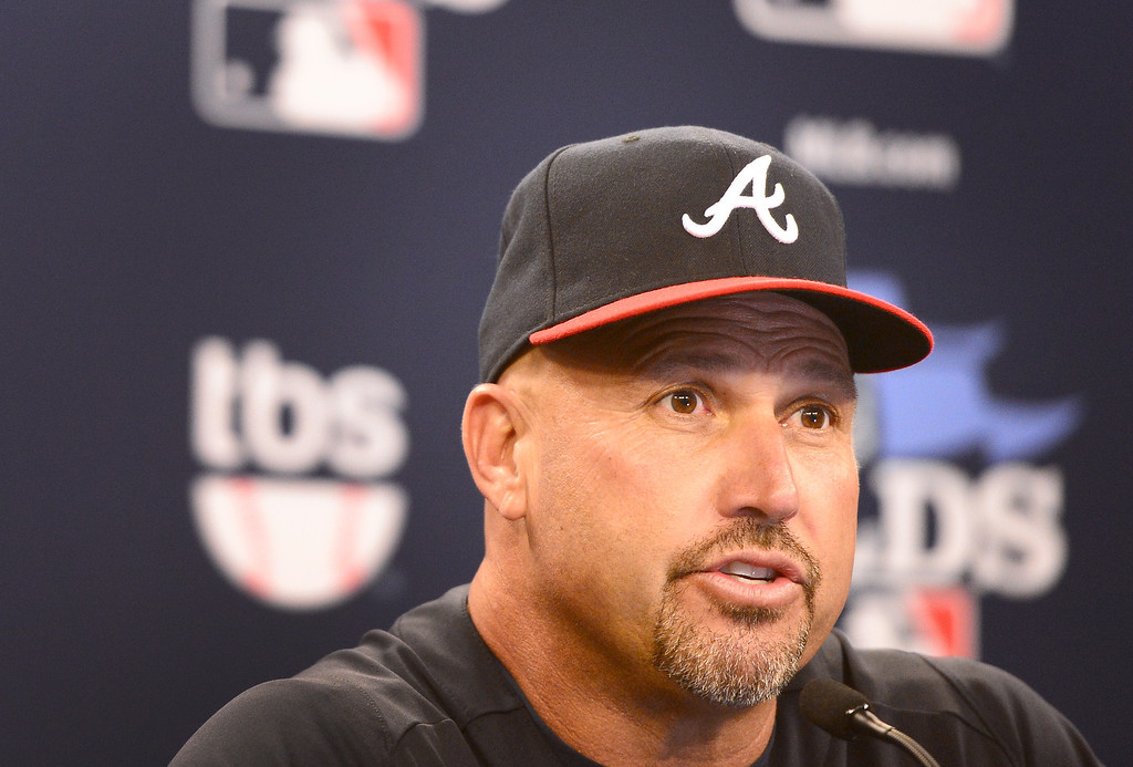 . Atlanta Braves\' manager Fredi Gonzalez speaks during a press conference Wednesday, October 2, 2013 as his team prepares for the playoffs at Turner Field in Atlanta, Georgia where they will play the Los Angeles Dodgers. (Photo by Sarah Reingewirtz/Pasadena Star- News)