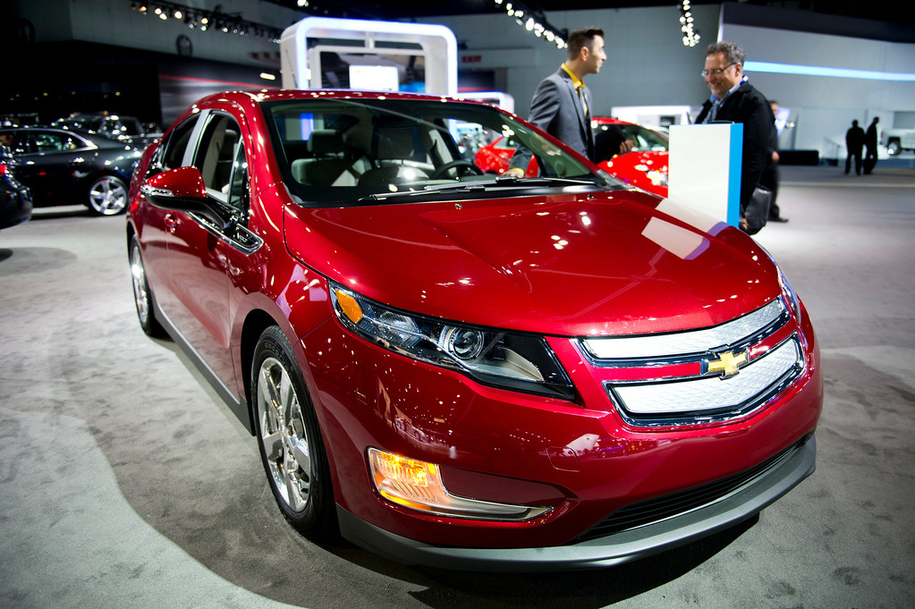 . The 2014 Chevy Volt is display at Los Angeles Auto Show on Wednesday, Nov. 20, 2013, in Los Angeles. (Photo by Watchara Phomicinda/San Gabriel Valley Tribune)