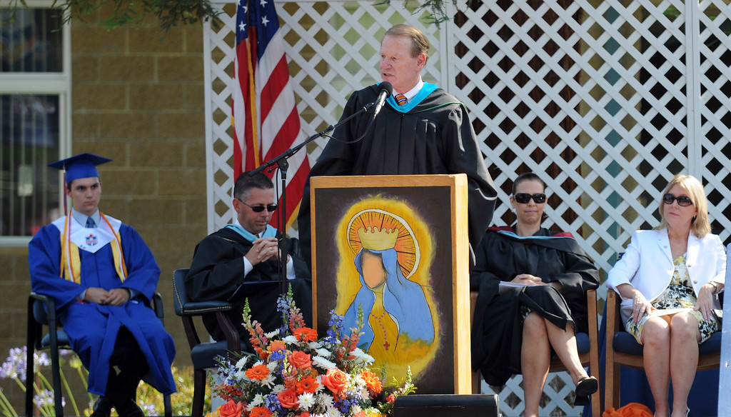 . School President, James Adams, speakes during the ceremony.  Chaminade College Preparatory High School, celebrating its 60th anniversary, graduated 337 students at the West Hills campus on Saturday, June 01, 2013.  (Dean Musgrove/Los Angeles Daily News)