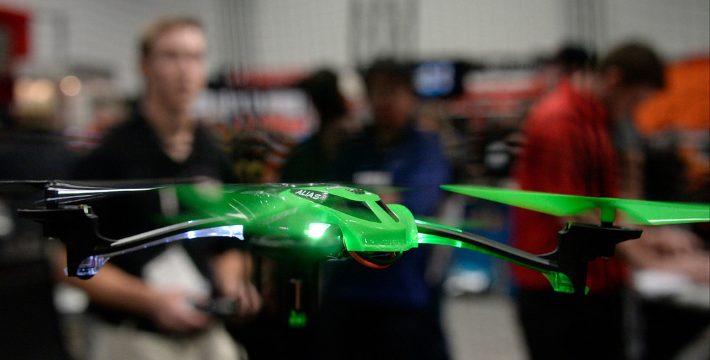 . Nov 5,2013 Las Vegas NV. USA. The famous Traxxas remote control  cars show their new quad copter the Alias, on display during the first day of the 2013 SEMA auto show.