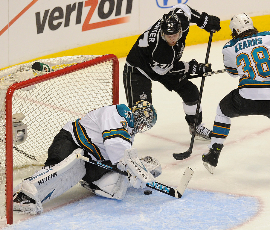 . Sharks#31 Antti Niemi stops a shot by Kings#77 Jeff Carter in the first period. The Kings played the San Jose Sharks during the first game in the Second Round of the Western Conference Playoffs. Los Angeles CA 5/14/2013(John McCoy/LA Daily News)