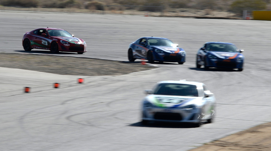 . March 15,2014. Rosamond CA.  Celebrities go at high speeds to get ready for the upcoming Long Beach Grand Prix as they practice racing with instructors in Toyota race cars at the Willow Springs International Raceway Saturday. Photo  by Gene Blevins/LA DailyNews