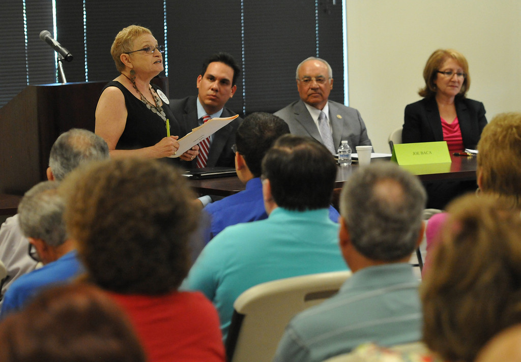 . (John Valenzuela/ Staff Photographer)  Eloise Gomez Reyes, Redlands Mayor Pete Aguilar, and Former Congressman Joe Baca participated in candidate forum for the 31st Congressional District, hosted by the Redlands Area Democratic Club at the Operating Engineers Union Hall in Redlands, Saturday, August 25, 2013.