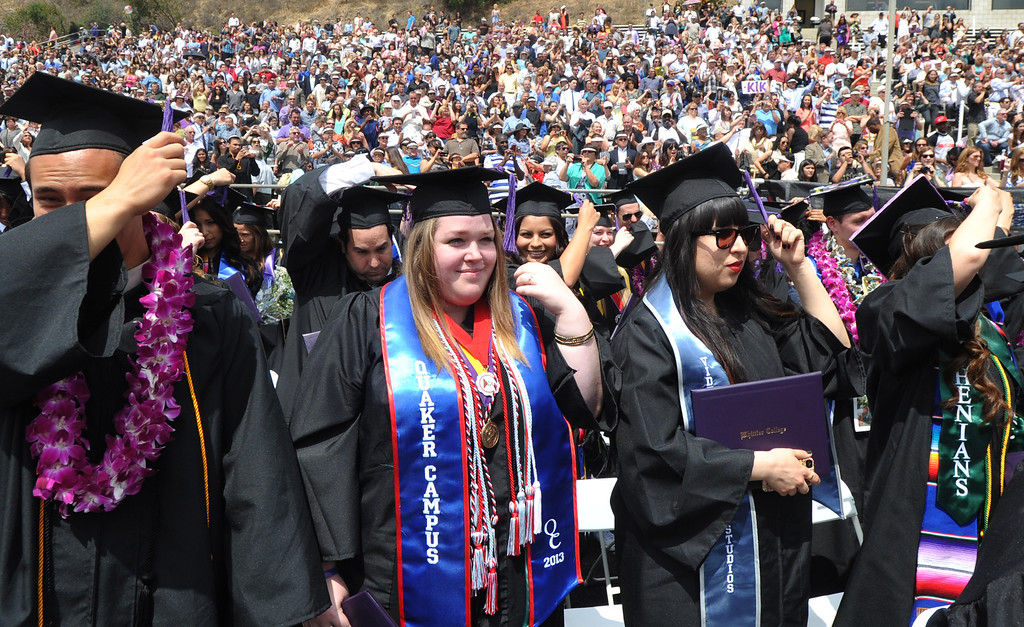 . About 360 undergraduate and graduate students receive their degrees during the 110th Commencement Ceremony at Memorial Stadium on the Whittier College campus in Whittier on Friday May 17, 2013. Award-winning journalist Sonia Nazario gave the keynote address and received an honorary degree from the Whittier College faculty: a doctorate of humane letters.(SGVN/Staff Photo by Keith Durflinger)