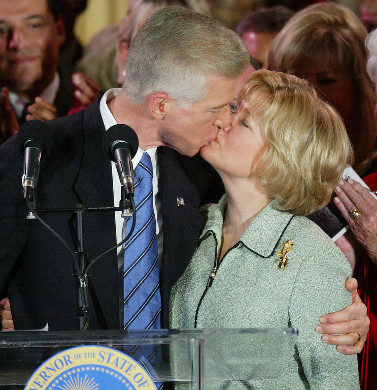 . 10/7/03- Los Angeles, CA Governor Gray Davis kisses wife sharon and thanks his supporters in the Crystal Ballroom of the Biltmore Hotel in Los Angeles after conceding the governor\'s position to Arnold.John Lazar/Staff Photographer, L.A. Daily News