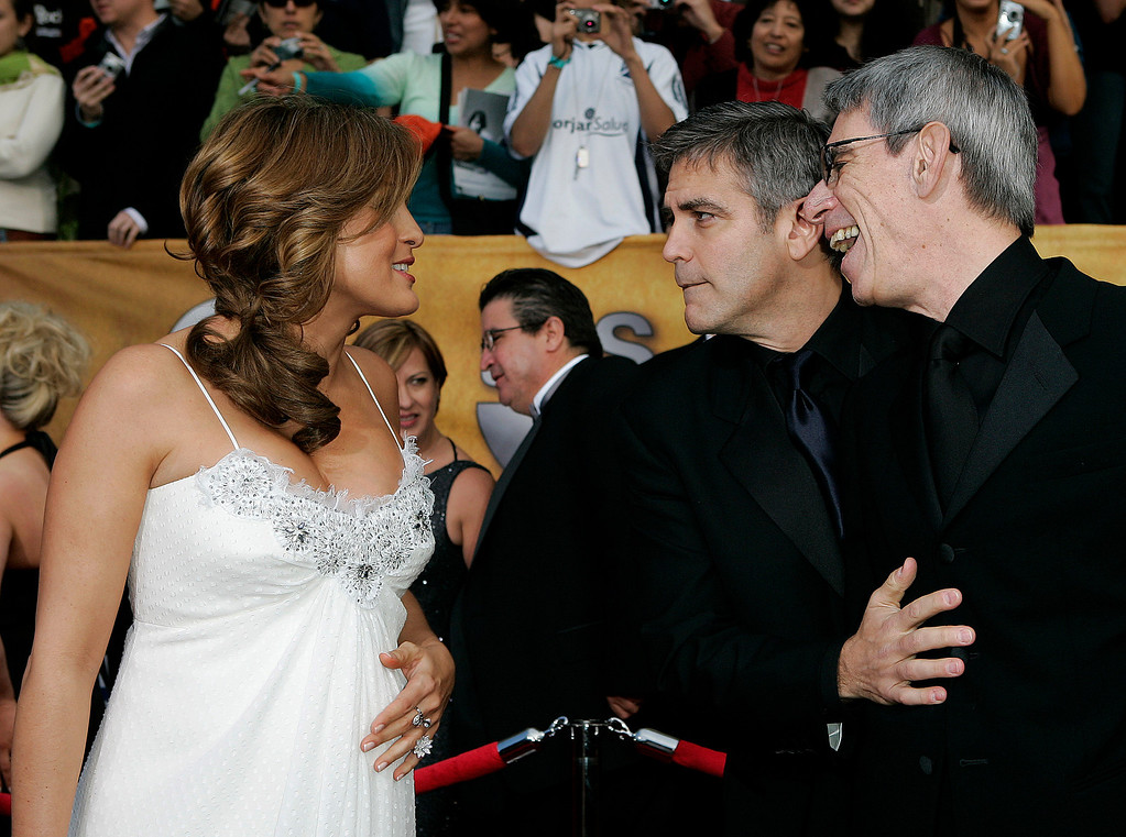 ". Mariska Hargitay, who is pregnant and nominated as best actress in a drama series for her work on ""Law & Order: Special Victims Unit,\"" greets George Clooney, center, and Richard Belzer, who also stars in \""Law and Order: Special Victims Unit,\"" as they arrive at the Screen Actors Guild Awards in Los Angeles Sunday, Jan. 29, 2006. \"" (AP Photo/Kevork Djansezian)"