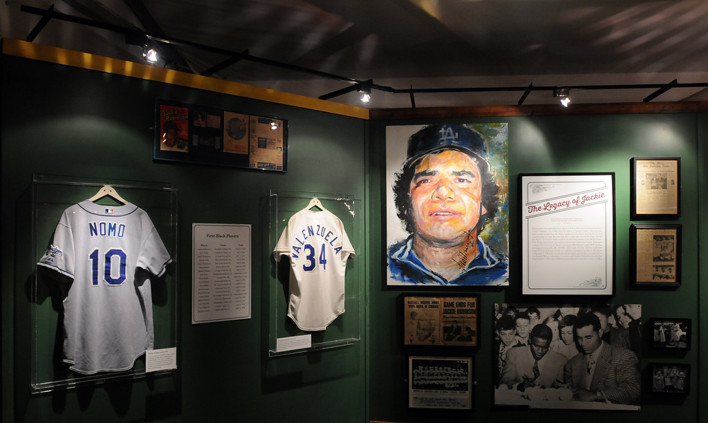 """. Los Angeles Dodger players jerseys are part of the \""""Baseball!\""""  exhibit.  The Exhibition opens April 4, 2014 at the Ronald Reagan Presidential Library and Museum.  Running through September 4, 2014, Baseball is a 12,000 square foot exhibition featuring over 700 artifacts, including some of the rarest, historic and iconic baseball memorabilia.  (Photo by Dean Musgrove/Staff Photographer)"""