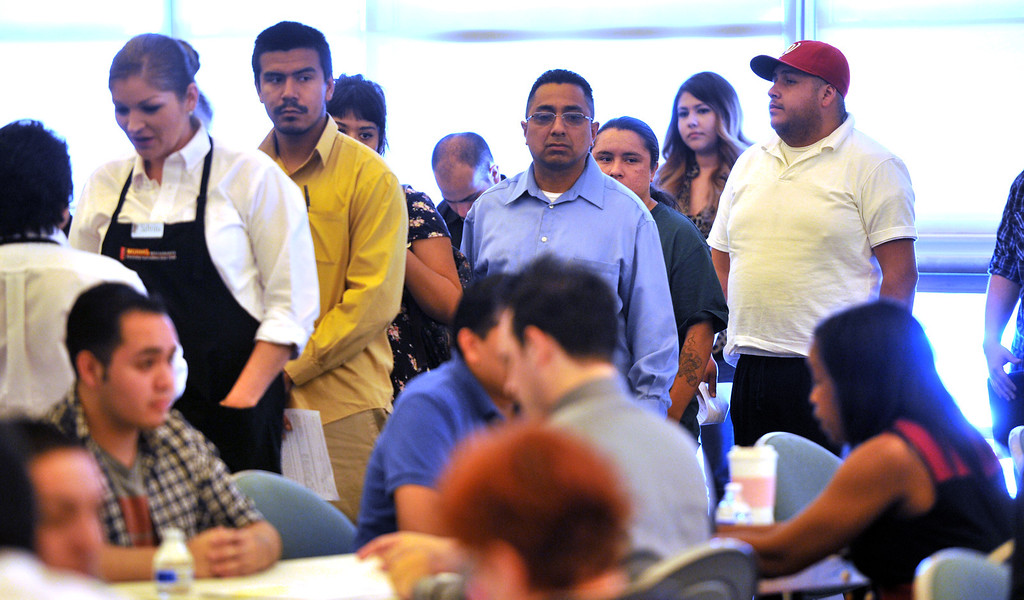 . Job seekers wait for interviews at Pico Park for the new Norm\'s Restaurant in Pico Rivera on Friday  May 2, 2014. Over 1,000 people are expected to fill out applications for the Pico Rivera Norms that will open on May 22nd.  (Staff Photo by Keith Durflinger/Whittier Daily News)
