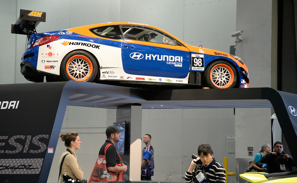 . Nov 6,2013 Las Vegas NV. USA. Some of the custom Hyundai cars by Bismoto Engineering Genesis Coupe on display during the second day of the 2013 SEMA auto show.