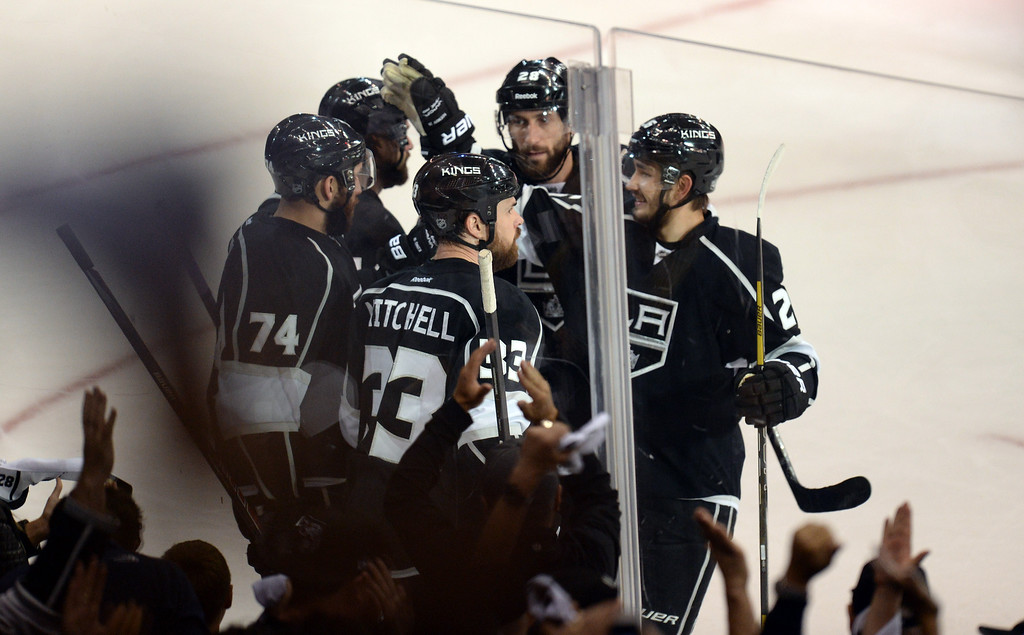 . Kings players celebrate their first period goal during Game 6 of the Western Conference finals against the Blackhawks at the Staples Center on Friday, May 30, 2014. (Photo by Hans Gutknecht/Los Angeles Daily News)