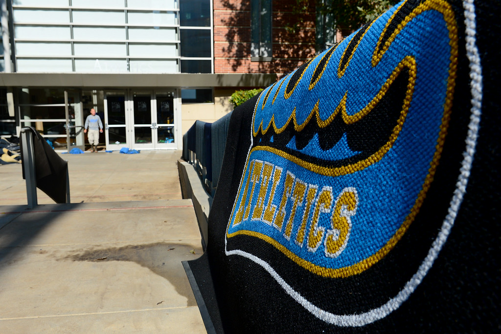 . Carpet dries outside the J.D. Morgan Center at UCLA, Wednesday, July 30, 2014. (Photo by Michael Owen Baker/Los Angeles Daily News)