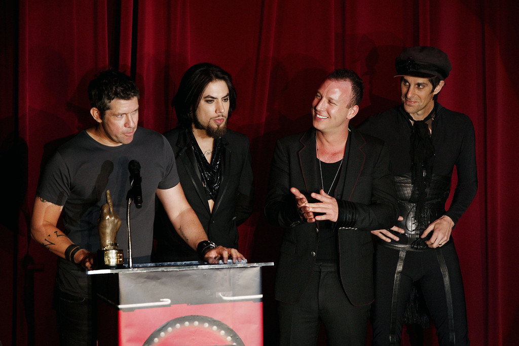 . LOS ANGELES - APRIL 23:  Musicians (L to R) Eric Avery, Dave Navarro, Stephen Perkins and Perry Ferrell, of Jane\'s Addiction, appear onstage at the 1st Annual U.S. NME Awards at the El Rey Theater on April 23, 2008 in Los Angeles, California. (Photo by Kevin Winter/Getty Images)